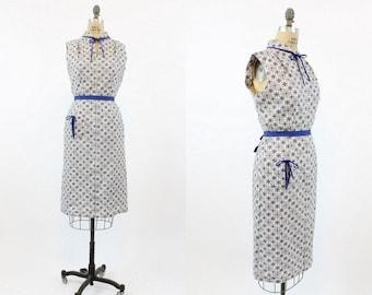 40s Dress Cotton Medium / 1940s Vintage Midi Length Wiggle Dress / Texas Rose Dress