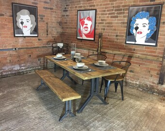 NEW 'Camden' Base Vintage Industrial Plank Top Dining Table