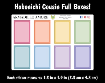 323 | Hobonichi Cousin Rainbow Full Boxes {8 Fancy Matte or Glossy Planner Stickers}