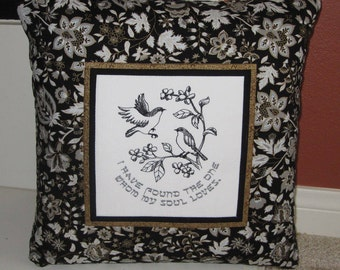 Song of Solomon Jewish Embroidered Decorative Pillow Cover 16 inch Black