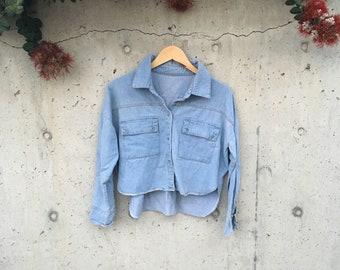 90's Cropped Denim Shirt