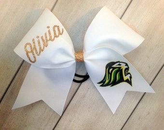 White Team Cheer Bow - Personalized Glitter White cheer bow with team logo