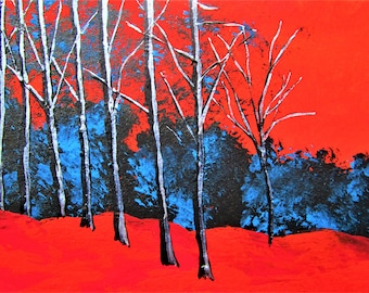"""Twilight Woods #275 (ARTIST TRADING CARDS) 2.5"""" x 3.5"""" by Mike Kraus - aceo forest nature trees environment blue red black trail hiking fun"""