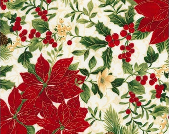 Holiday~Ponsettias On White Cotton Fabric By Timeless Treasures