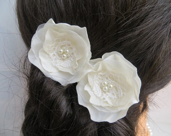 Ivory bridal hair flowers (set of 2), bridal hairpiece, bridal hair clips, wedding hair accessories, wedding hair flower