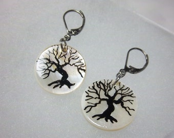 Tree of Life Earrings, Dangles, Handpainted on Mother of Pearl, Shells, Lightweight, Wearable Art
