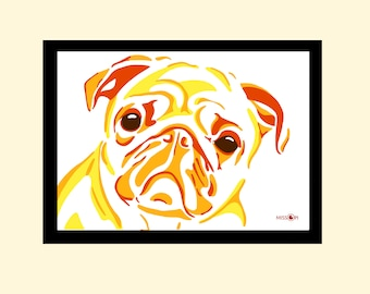 Sister Gift, custom pet portrait, digital print, animal art, pug art, dog print, artwork, digital art, bespoke gift, Abstract art, Colourful