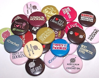 """I Love Crocheting Set of 10 Buttons 1"""" or 1.5"""" Pin Back Buttons or 1"""" Magnets Crochet Crocheter"""