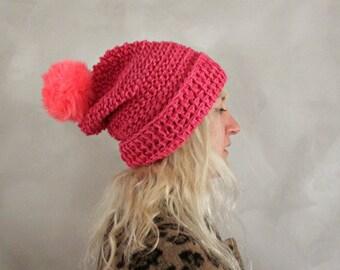 Pom Pom Beanie / Hot Pink / Womens Knit Beanie / Fur Pom Pom Beanie / Fur Pom Pom Hat/ Gift for Her/ Womens Gift/ Birthday / Gift