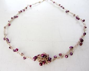 Crochet gold filled necklace - Purple magic