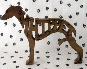 Whippet Handmade Fretwork Wood Jigsaw Puzzle by dogWoodbyDave on Etsy