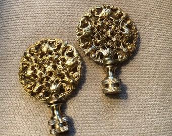 Chinese Brass Lamp Finials - Pair