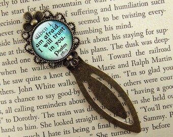 Psalm 56:3, Bookmark, Bible Verse, When I Am Afraid, I Will Trust In You, Bronze Bookmark, Book Lover, Book Accessories, Clip, Blue