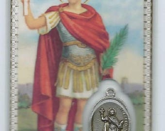 Laminated image pious Saint Expedit medal card high quality