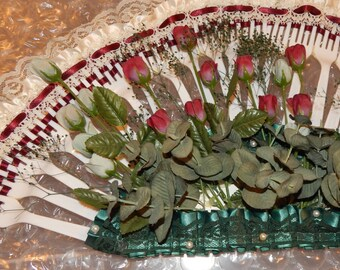 Primitive Art, Folk Art Plastic Fork Home Decor, Recycled Home Decor, Lace, Ribbon and Flowers ,Fan Shaped