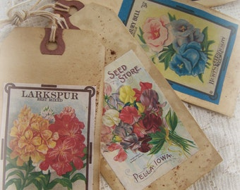 Handmade Floral Gift Tags Vintage Seed Packet Gift Tags Grunge Scented  Gift Tags Vintage  Decor Vintage Bookmark Floral Gift Tags