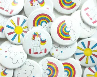 Unicorn badges - Unicorn Party Ideas - Unicorn Themed Birthday - Party Bag - Birthday Badge - Unicorn Gift - Pin Badge - Unicorn Theme -