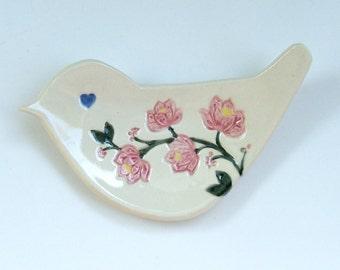Ceramic Hand Built Bird Plate, Pink Blossoms