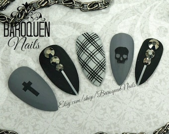 "Matte Gray & Black Press On Nails | Skull Nail Art ""Onyxed"" | Fake Nails | False Nails | Alternative Nails | Plaid Punk Grunge | Crosses"