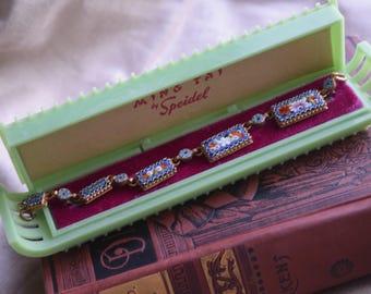 Vintage JAde Celluloid Bracelet, Watch Pagoda PResentation Box, Pagoda Speidel Gift Box, JEwelry gift for her