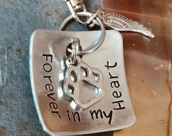 DOG MEMORIAL KEYCHAIN | Forever in my Heart | Pet Remembrance | Dog Memorial Keychain | Pet Loss Gift Keychain | Pet Memorial Gift