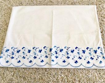 Vintage Pillowcases Pillow Cases Vintage Pillow Case Vintage Linens Vintage Pillow Cover Vintage Bedding Blue Sham Cover Antique Pillowcases