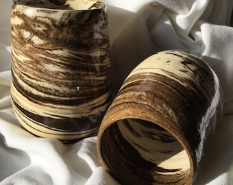 Hand made marbled cups 10oz. volume