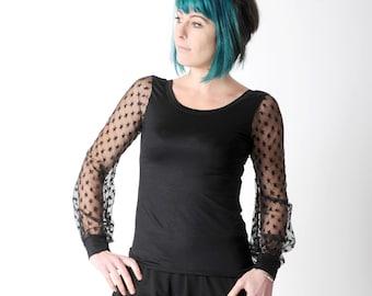 Black womens tee, Black sheer sleeved top, Black jersey top with starry mesh long sleeves, MALAM, size UK 10, UK 14