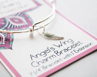 Wish Bracelet -Inspire Bracelet - Bangle Angels Wing Bracelet -Message Bracelet