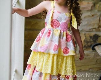 Eden Dress For Girls 12M-8Y PDF Pattern & Instructions-3 tiered, twirly skirt, sweet heart bodice, adjustable straps, elastic back
