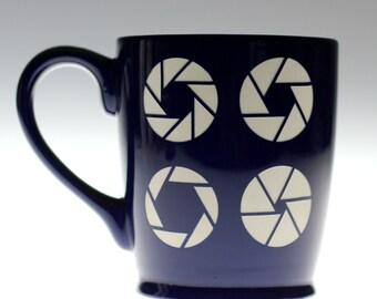 Aperture sandblasted Ceramic Coffee Mug,camera glass,camera gift,photographer gift,photographer mug,coffee mug, tea mug