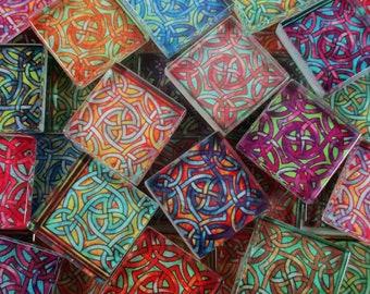 Glass Mosaic Tiles - Jewel Tones Celtic Knot Mixed Colors 1 Inch Squares Mosaic Pieces - 35 Pieces Mosaic Art / Mixed Media Art/Jewelry