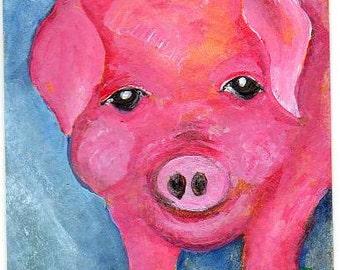 ACEO Original Pig painting small pig art, farm animal art card, pig painting, pig decor, pink pig art, farmhouse art, animal portrait