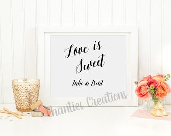 Love is Sweet Take a Treat. Wedding Sign. Wedding Favor Sign.  Love is Sweet Take a Treat Sign Printable. Bridal Shower Sign.