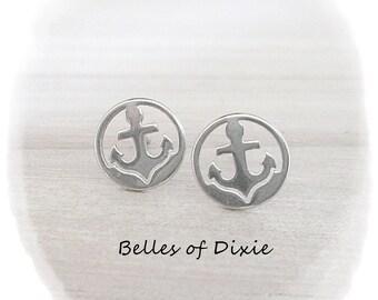 SILVER Anchor Stud Earrings ~ Nautical Post Earrings ~ Anchor Jewelry Earrings ~  SILVER Nautical Earrings ~ Sorority Gift