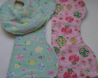 Lady Bugs and Butterfly Burp Cloths and Bib Set