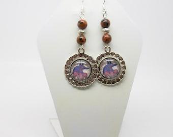 Anubis Earrings - Goldstone Gemstone Earrings - Anubis Jewelry - Sun Sitara - Sandstone Earrings - Egyptian Earrings - Egypt Jewelry