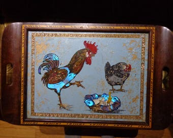vintage reverse glass painting serving tray