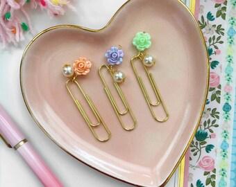 Floral Planner Clip / Planner Bow Clip / Pastel Floral Paper Clip
