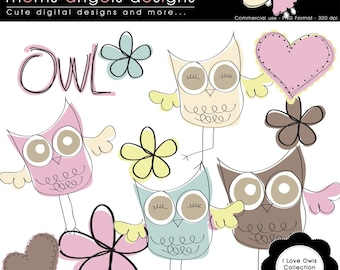 I love Owls Cliparts - Commercial use ok
