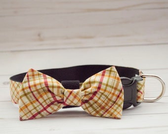 "The ""Cooper"" Dog Bow Tie Collar in Tan Plaid"