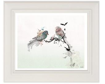 Love birds art, Pen and ink art, Bird illustration, Love birds painting, Horizontal print