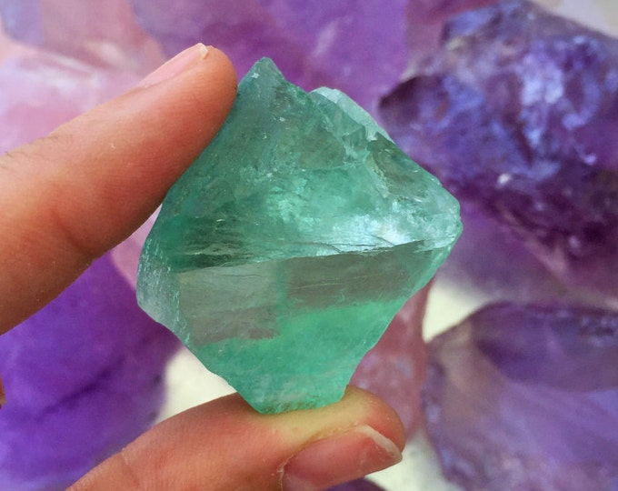 Raw Green Fluorite Healing Crystals and Stones /  Octahedron Fluorite