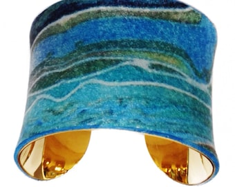 Agate Printed Leather Gold Lined Cuff - by UNEARTHED