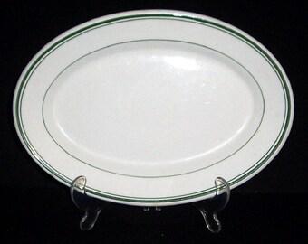 "Vintage WELLSVILLE Restaurant Ware China 12"" Platter with Triple Green Stripe"