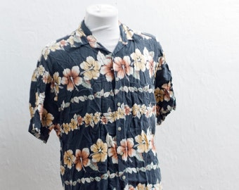 Men's Hawaiian Shirt / Vintage Croft and Barrow Summer Shirt / Size Medium