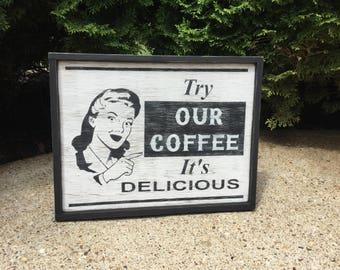 Coffee, Sign, Primitive, Rustic, Wood, Folk Art, Retro, Vintage, Style, Shelf Sitter, Wooden