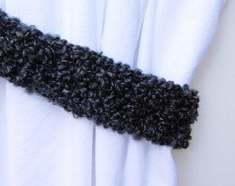 Black & Dark Gray Curtain Tiebacks, One Pair of Soft Thick Tie Backs, Drapery Drapes Holders, Fluffy Soft Crochet Knit, Simple, Customizable