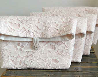SET OF 5 Bridesmaids Clutches, Vintage Inspired Fold Over Bridal Clutch, Five Lace Purses, Any Color