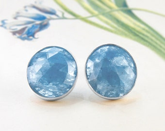 Aquamarine Stud Earrings, Statement Earrings, Silver Studs, Precious Gemstone Studs, March Birthstone Earrings, Silver Gemstone Earrings